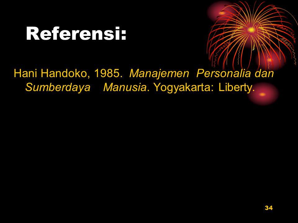 Referensi: Hani Handoko, 1985. Manajemen Personalia dan Sumberdaya Manusia. Yogyakarta: Liberty.