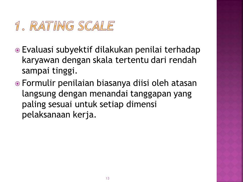 1. Rating Scale Evaluasi subyektif dilakukan penilai terhadap karyawan dengan skala tertentu dari rendah sampai tinggi.
