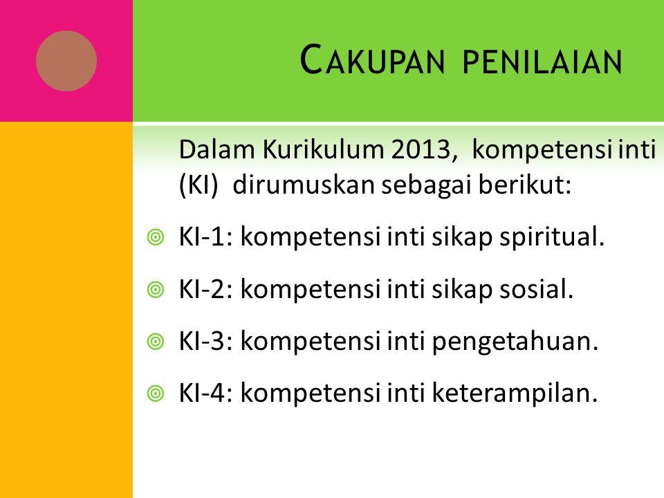 Cakupan penilaian Dalam Kurikulum 2013, kompetensi inti (KI) dirumuskan sebagai berikut: KI-1: kompetensi inti sikap spiritual.