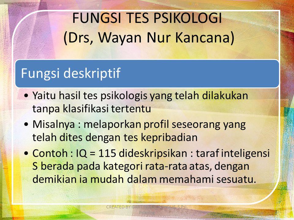 FUNGSI TES PSIKOLOGI (Drs, Wayan Nur Kancana)