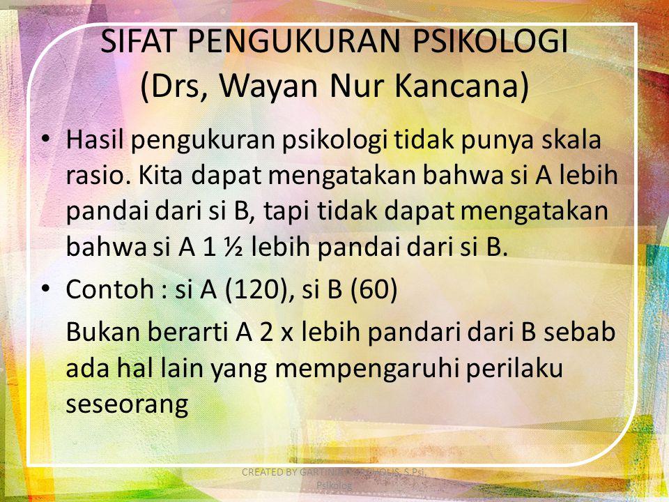 SIFAT PENGUKURAN PSIKOLOGI (Drs, Wayan Nur Kancana)