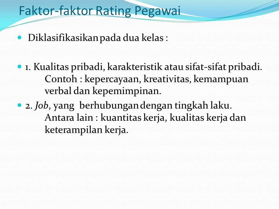 Faktor-faktor Rating Pegawai