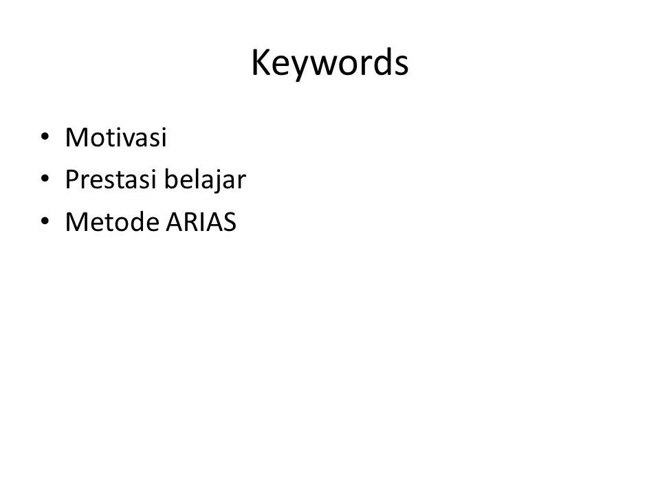 Keywords Motivasi Prestasi belajar Metode ARIAS