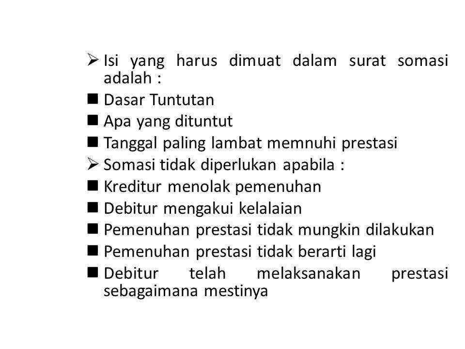 Isi yang harus dimuat dalam surat somasi adalah :