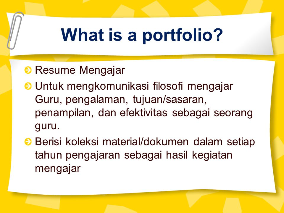 What is a portfolio Resume Mengajar