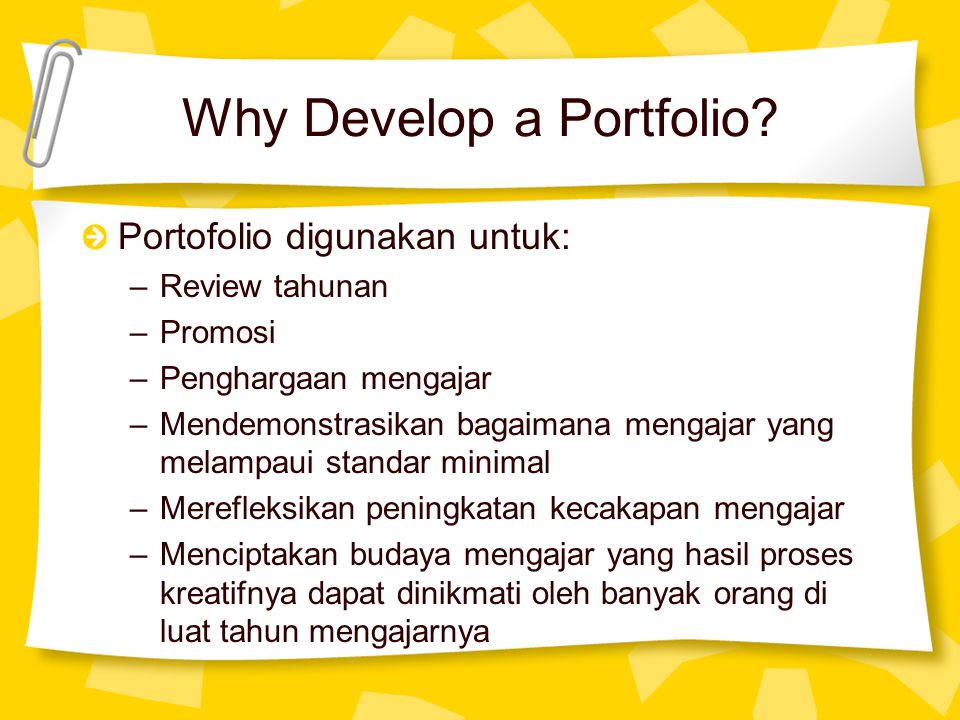 Why Develop a Portfolio