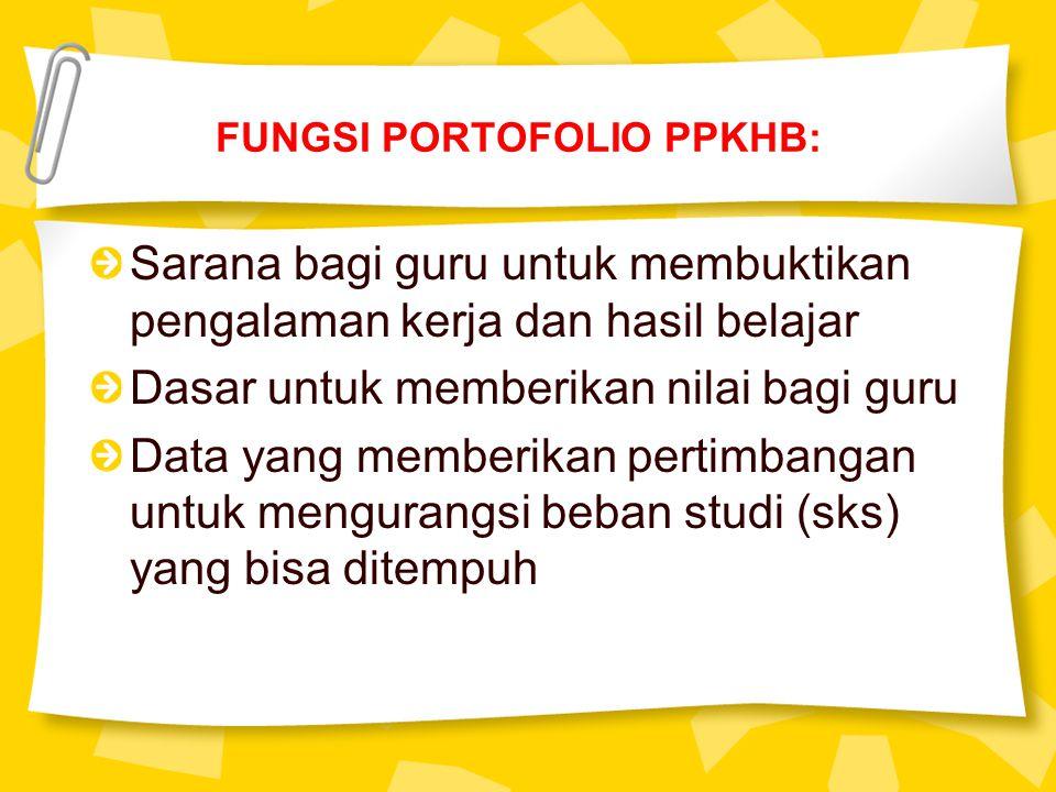 FUNGSI PORTOFOLIO PPKHB: