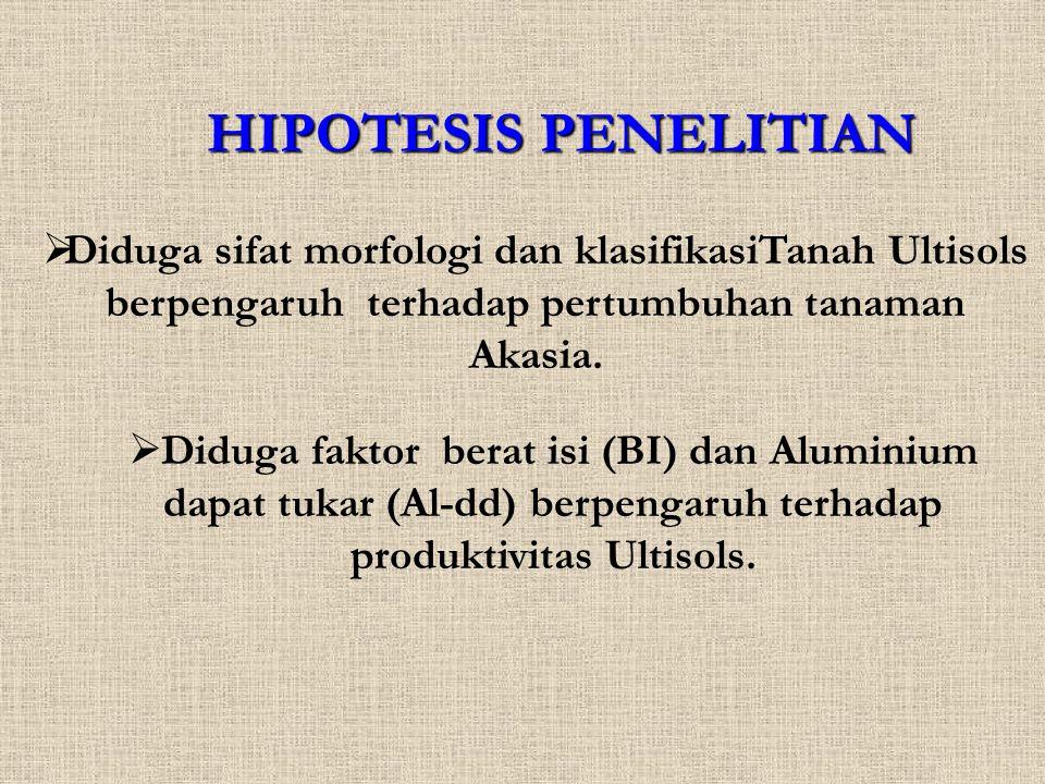 HIPOTESIS PENELITIAN Diduga sifat morfologi dan klasifikasiTanah Ultisols berpengaruh terhadap pertumbuhan tanaman Akasia.