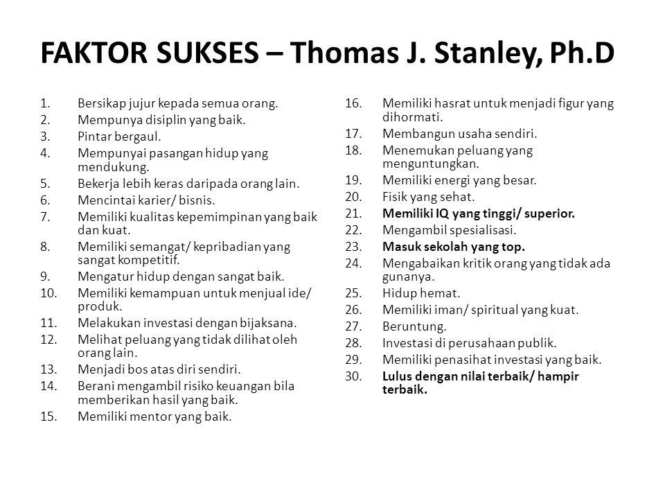 FAKTOR SUKSES – Thomas J. Stanley, Ph.D