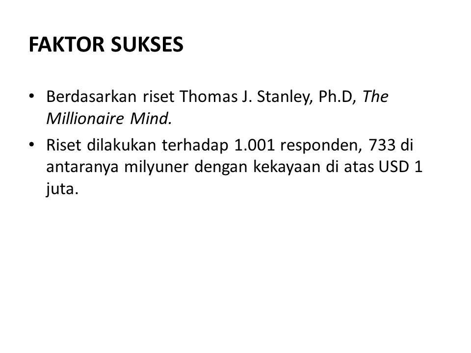 FAKTOR SUKSES Berdasarkan riset Thomas J. Stanley, Ph.D, The Millionaire Mind.