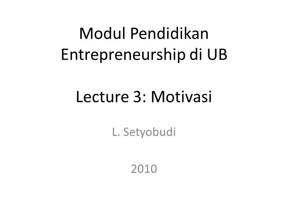 Modul Pendidikan Entrepreneurship di UB Lecture 3: Motivasi