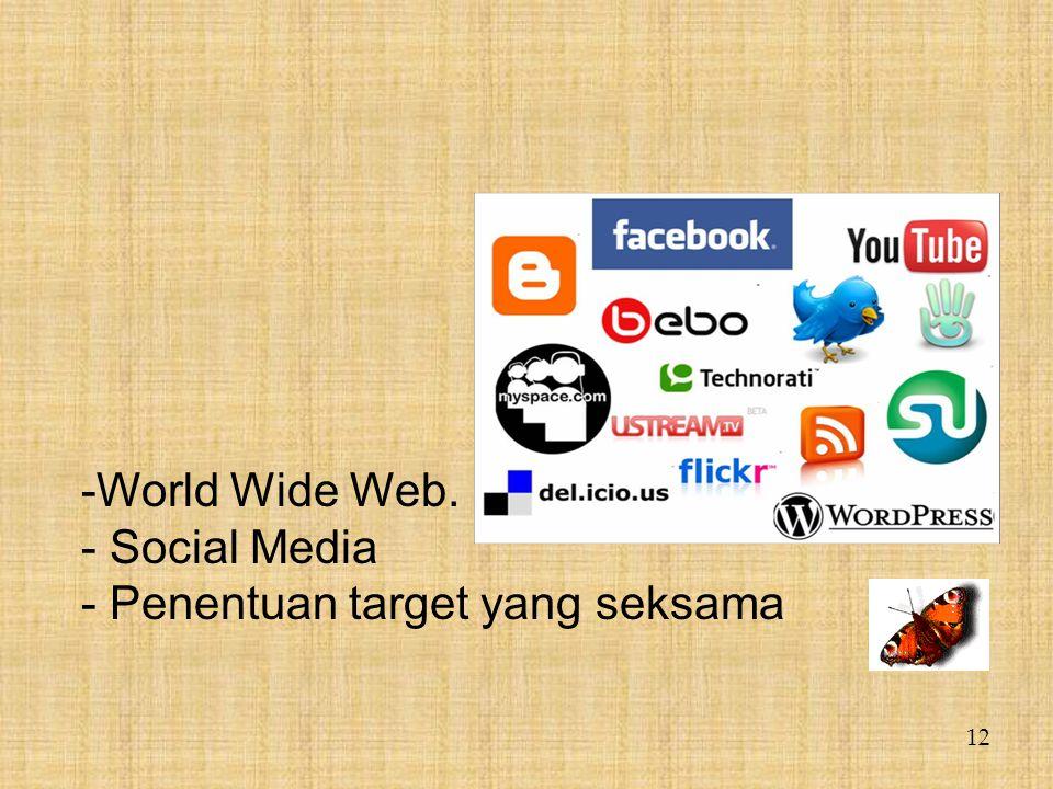 World Wide Web. Social Media - Penentuan target yang seksama