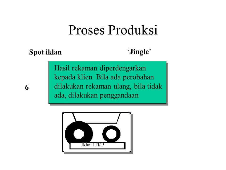 Proses Produksi Spot iklan 'Jingle' Hasil rekaman diperdengarkan