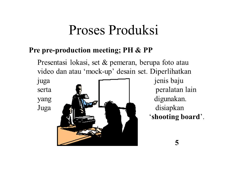 Proses Produksi Pre pre-production meeting; PH & PP