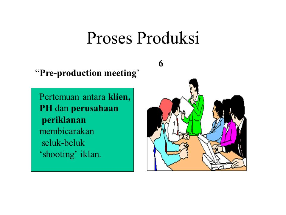Proses Produksi 6 Pre-production meeting' Pertemuan antara klien,