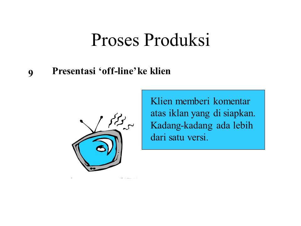 Proses Produksi Presentasi 'off-line' ke klien 9