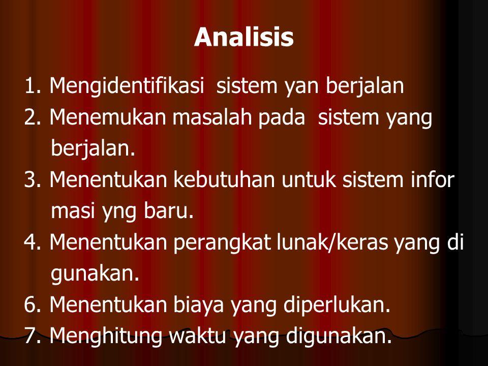 Analisis 1. Mengidentifikasi sistem yan berjalan