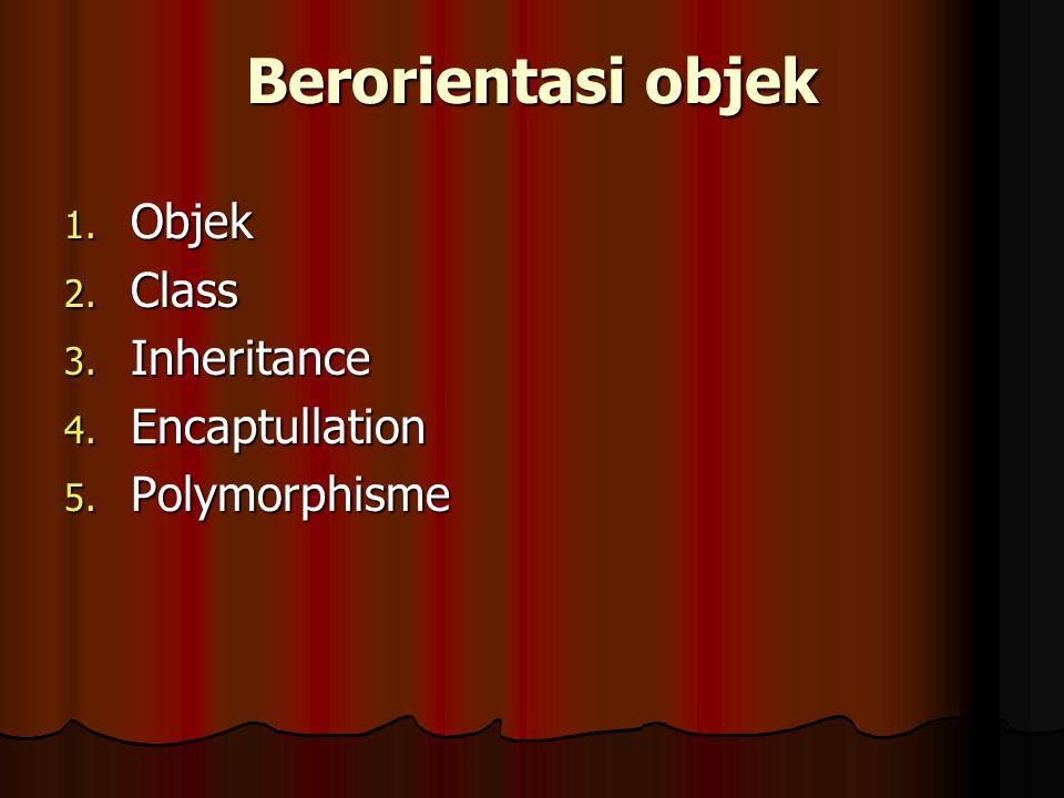 Berorientasi objek Objek Class Inheritance Encaptullation