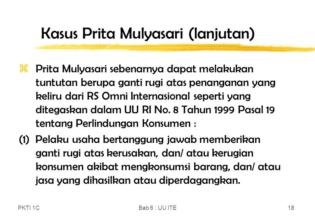 Kasus Prita Mulyasari (lanjutan)
