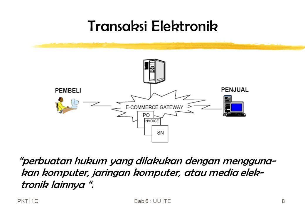 Transaksi Elektronik perbuatan hukum yang dilakukan dengan mengguna-kan komputer, jaringan komputer, atau media elek-tronik lainnya .