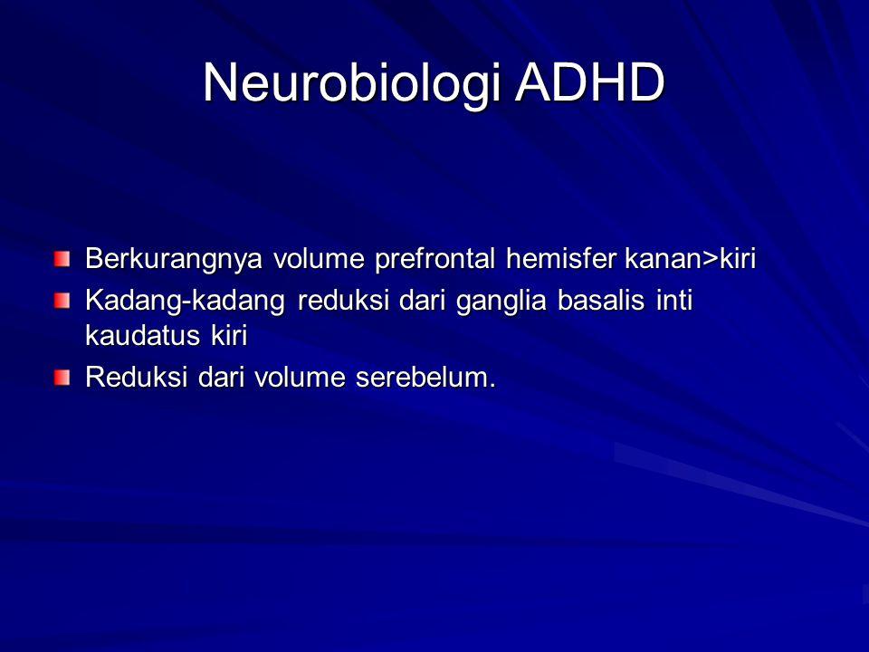 Neurobiologi ADHD Berkurangnya volume prefrontal hemisfer kanan>kiri. Kadang-kadang reduksi dari ganglia basalis inti kaudatus kiri.