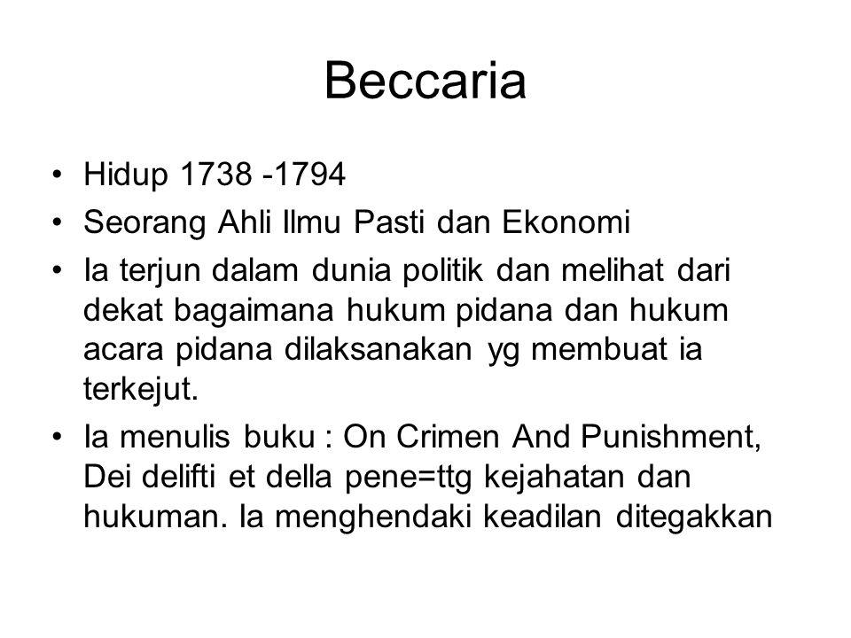 Beccaria Hidup 1738 -1794 Seorang Ahli Ilmu Pasti dan Ekonomi