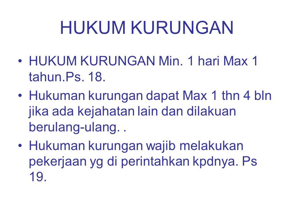 HUKUM KURUNGAN HUKUM KURUNGAN Min. 1 hari Max 1 tahun.Ps. 18.