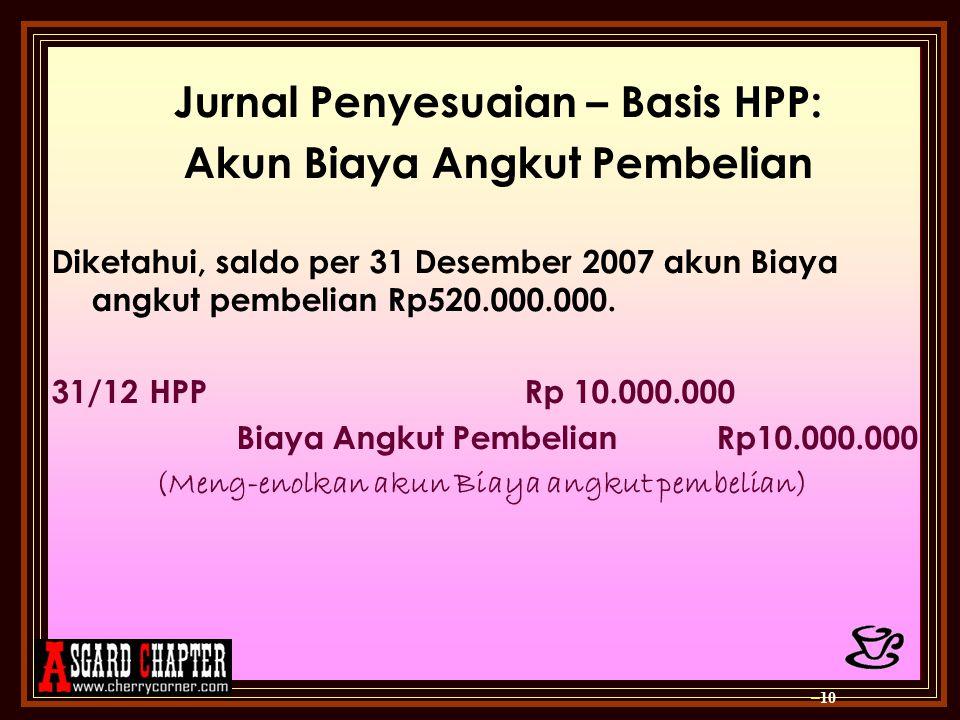 Jurnal Penyesuaian – Basis HPP: Akun Biaya Angkut Pembelian
