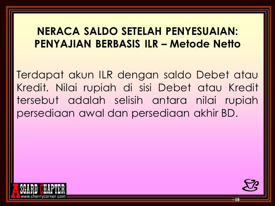 NERACA SALDO SETELAH PENYESUAIAN: PENYAJIAN BERBASIS ILR – Metode Netto