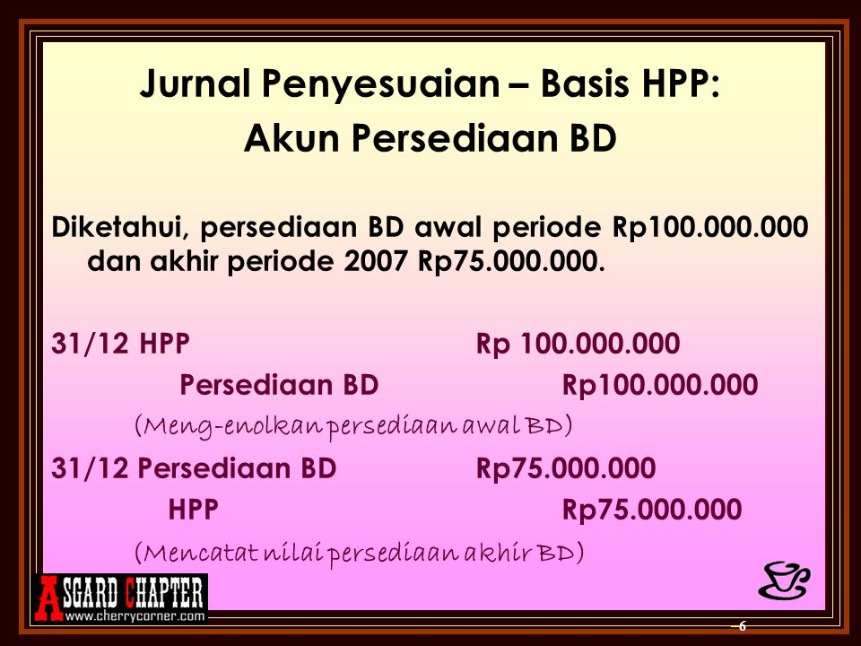Jurnal Penyesuaian – Basis HPP: