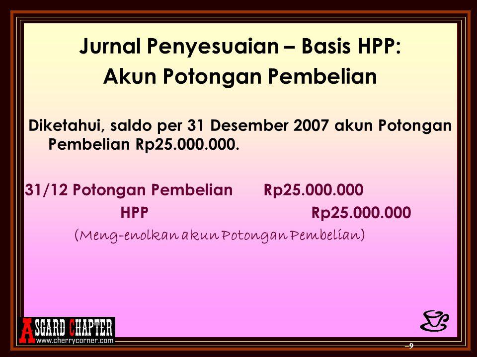 Jurnal Penyesuaian – Basis HPP: Akun Potongan Pembelian