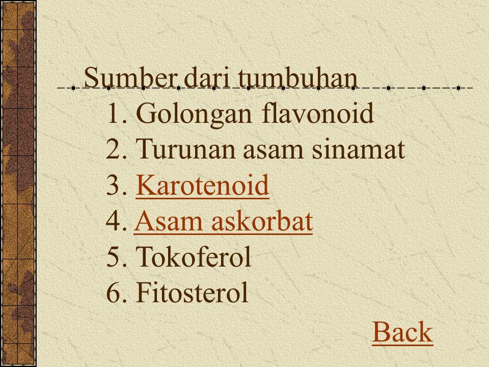 Sumber dari tumbuhan 1. Golongan flavonoid 2. Turunan asam sinamat 3