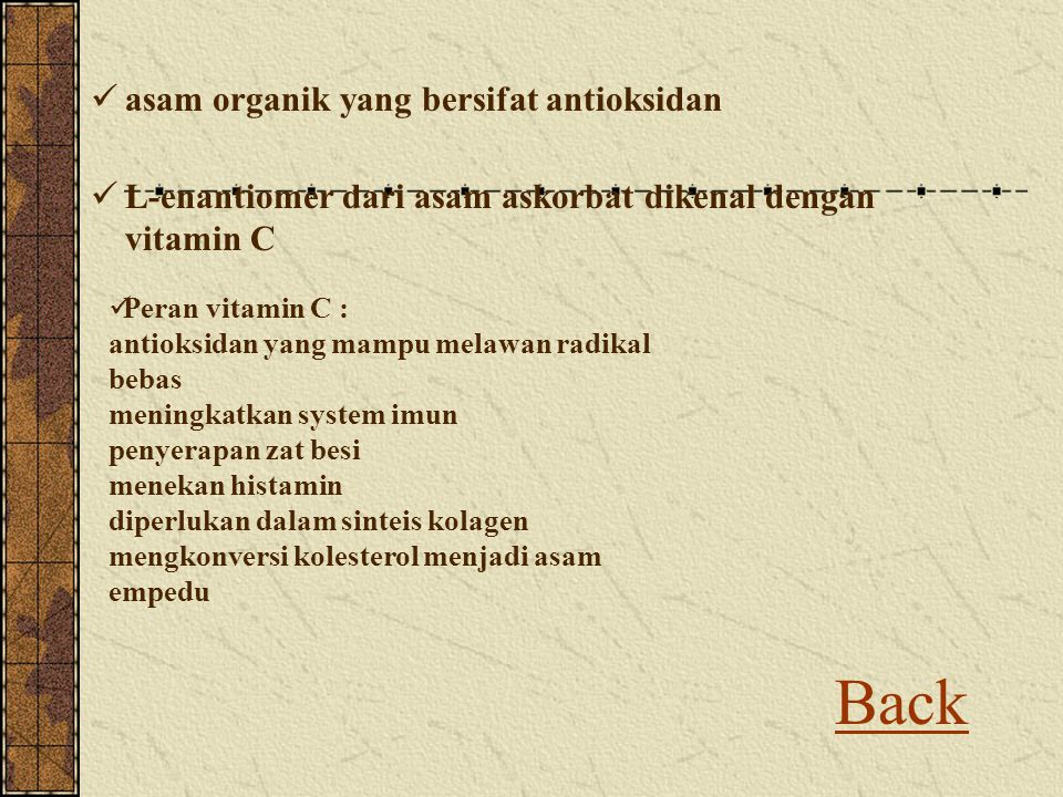 Back asam organik yang bersifat antioksidan