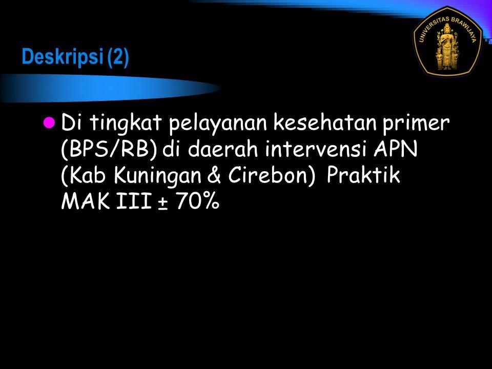 Deskripsi (2) Di tingkat pelayanan kesehatan primer (BPS/RB) di daerah intervensi APN (Kab Kuningan & Cirebon) Praktik MAK III ± 70%