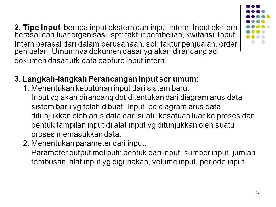 2. Tipe Input: berupa input ekstern dan input intern