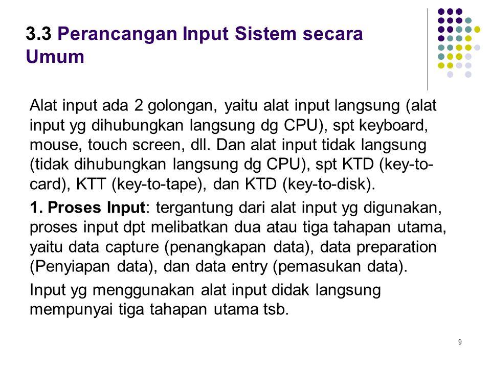 3.3 Perancangan Input Sistem secara Umum