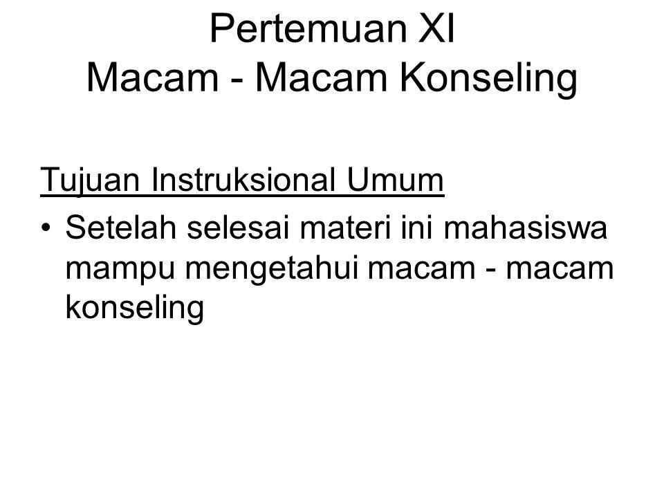 Pertemuan XI Macam - Macam Konseling