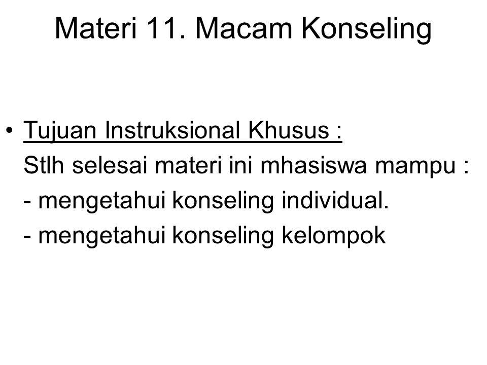 Materi 11. Macam Konseling