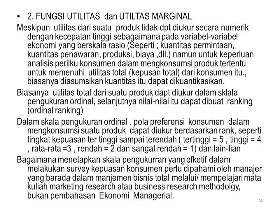 2. FUNGSI UTILITAS dan UTILTAS MARGINAL