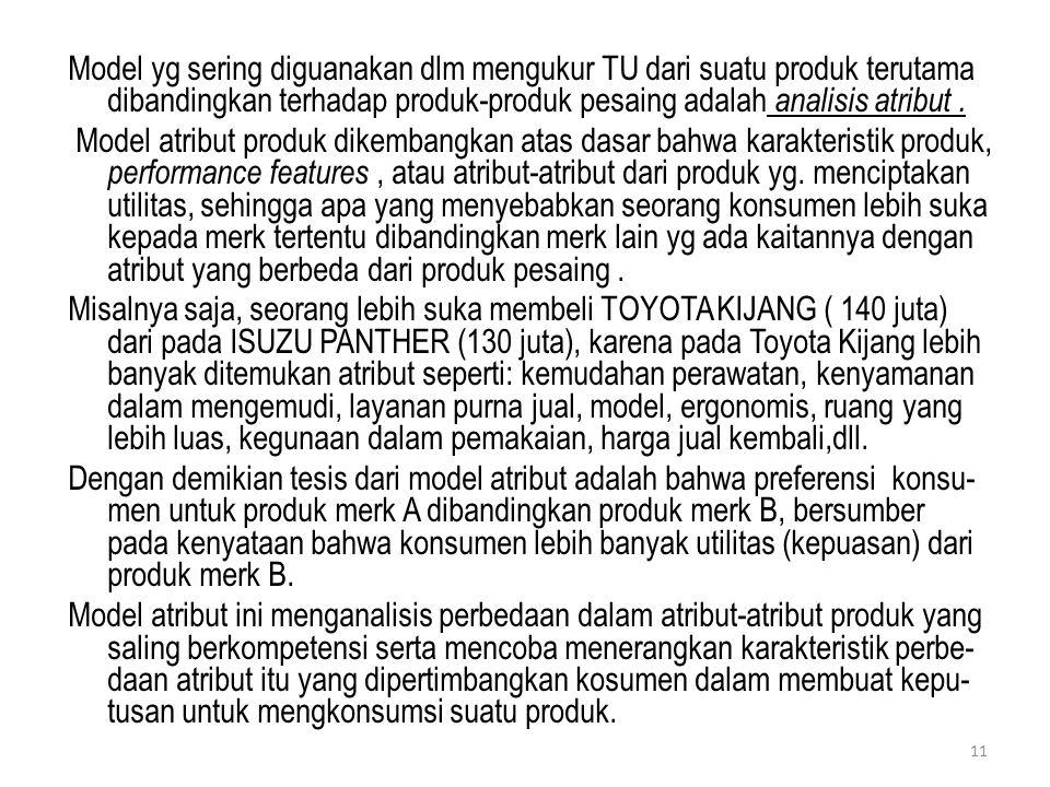 Model yg sering diguanakan dlm mengukur TU dari suatu produk terutama dibandingkan terhadap produk-produk pesaing adalah analisis atribut .