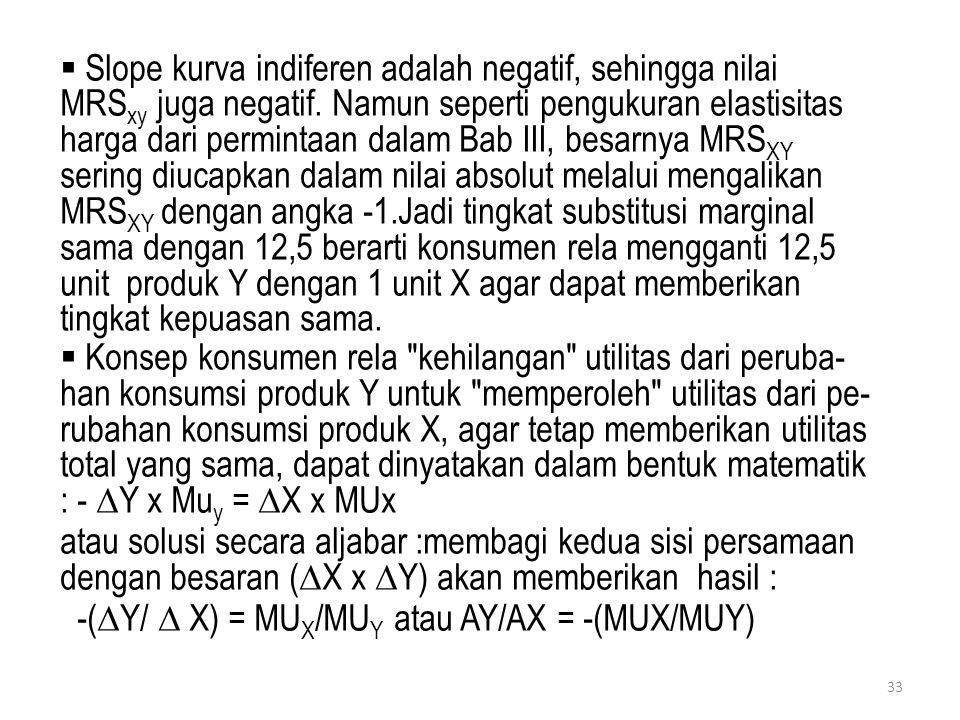 Slope kurva indiferen adalah negatif, sehingga nilai MRSxy juga negatif. Namun seperti pengukuran elastisitas harga dari permintaan dalam Bab III, besarnya MRSXY sering diucapkan dalam nilai absolut melalui mengalikan MRSXY dengan angka -1.Jadi tingkat substitusi marginal sama dengan 12,5 berarti konsumen rela mengganti 12,5 unit produk Y dengan 1 unit X agar dapat memberikan tingkat kepuasan sama.