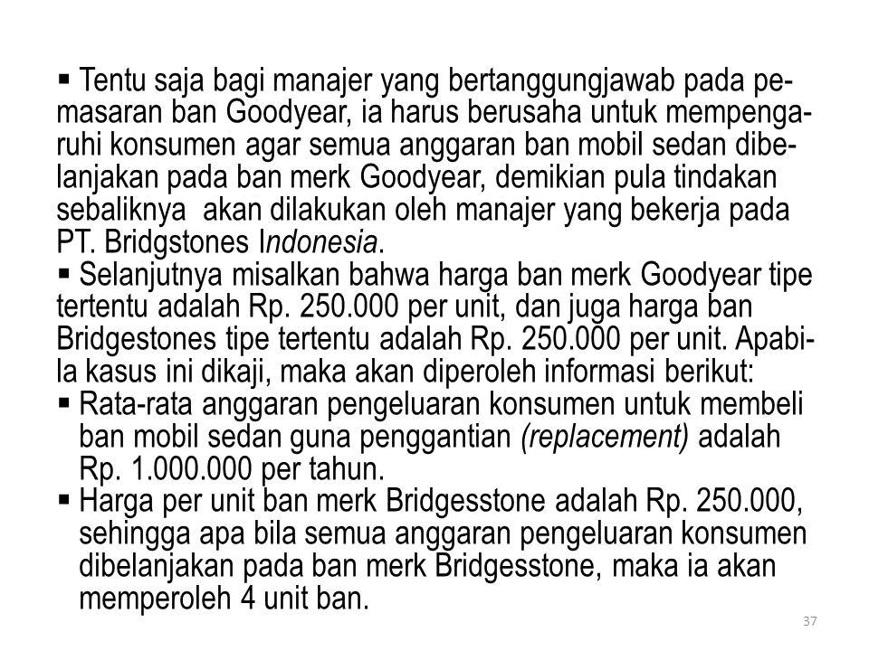 Tentu saja bagi manajer yang bertanggungjawab pada pe-masaran ban Goodyear, ia harus berusaha untuk mempenga-ruhi konsumen agar semua anggaran ban mobil sedan dibe-lanjakan pada ban merk Goodyear, demikian pula tindakan sebaliknya akan dilakukan oleh manajer yang bekerja pada PT. Bridgstones Indonesia.