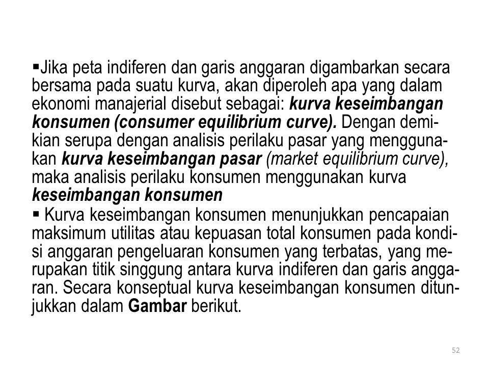 Jika peta indiferen dan garis anggaran digambarkan secara bersama pada suatu kurva, akan diperoleh apa yang dalam ekonomi manajerial disebut sebagai: kurva keseimbangan konsumen (consumer equilibrium curve). Dengan demi- kian serupa dengan analisis perilaku pasar yang mengguna- kan kurva keseimbangan pasar (market equilibrium curve), maka analisis perilaku konsumen menggunakan kurva keseimbangan konsumen