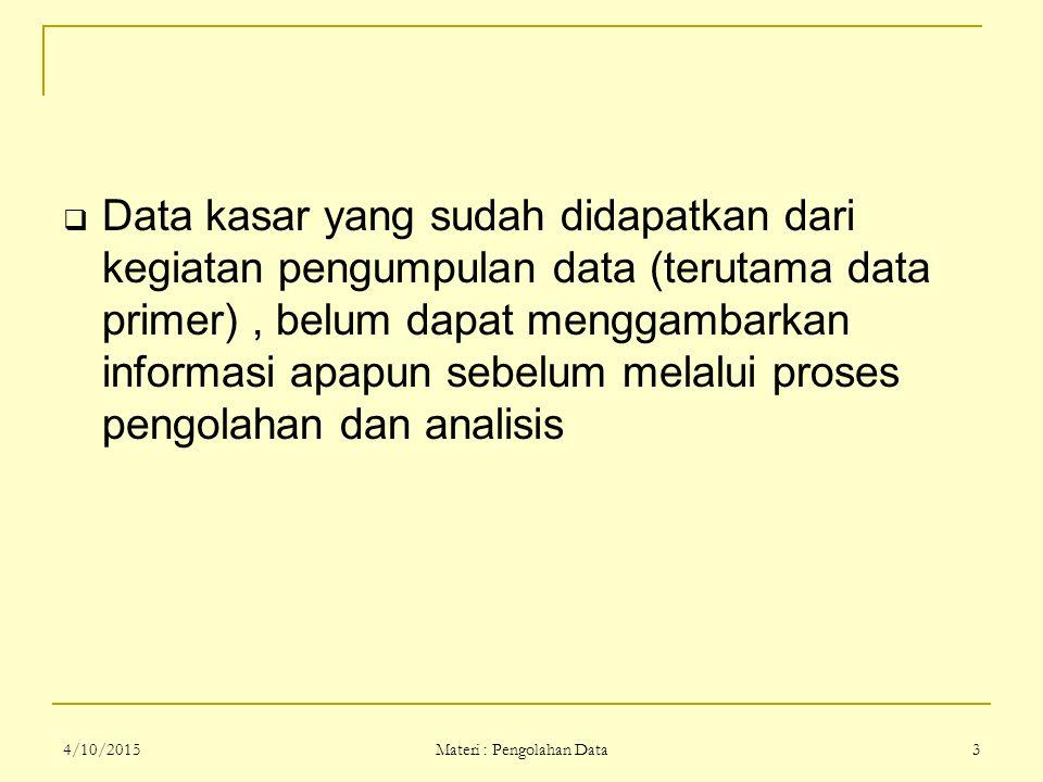 Materi : Pengolahan Data