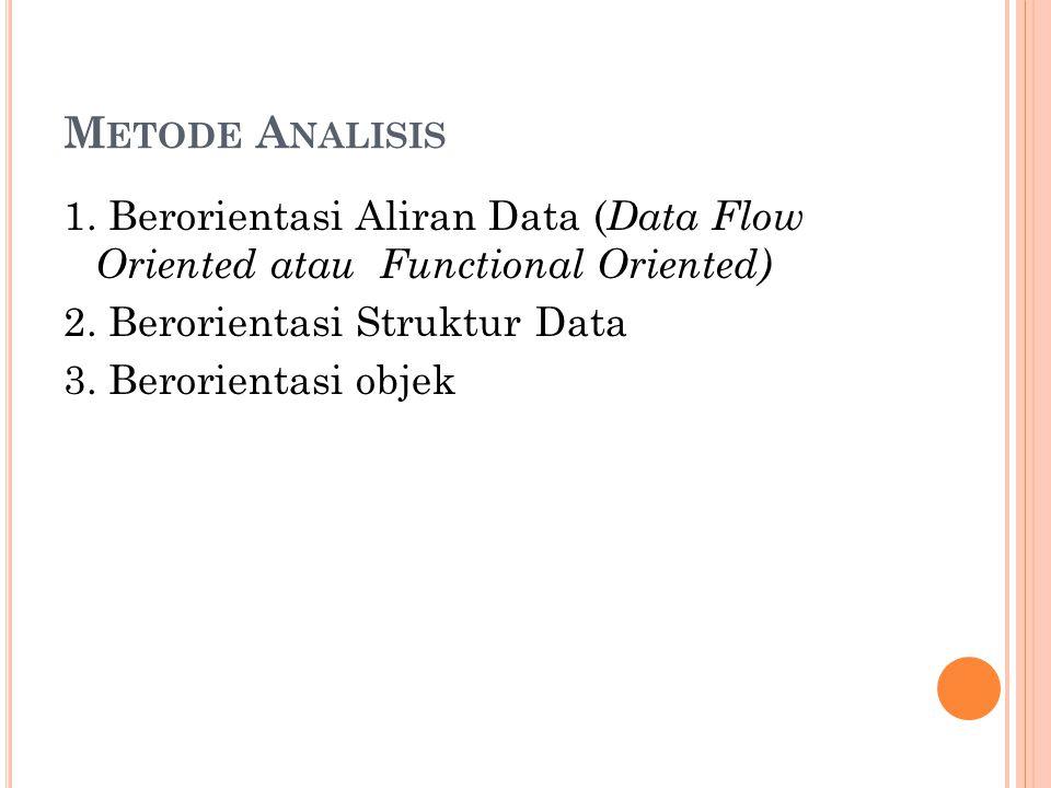 Metode Analisis 1. Berorientasi Aliran Data (Data Flow Oriented atau Functional Oriented) 2.