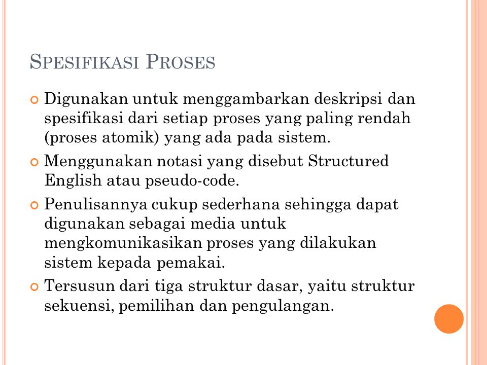 Spesifikasi Proses