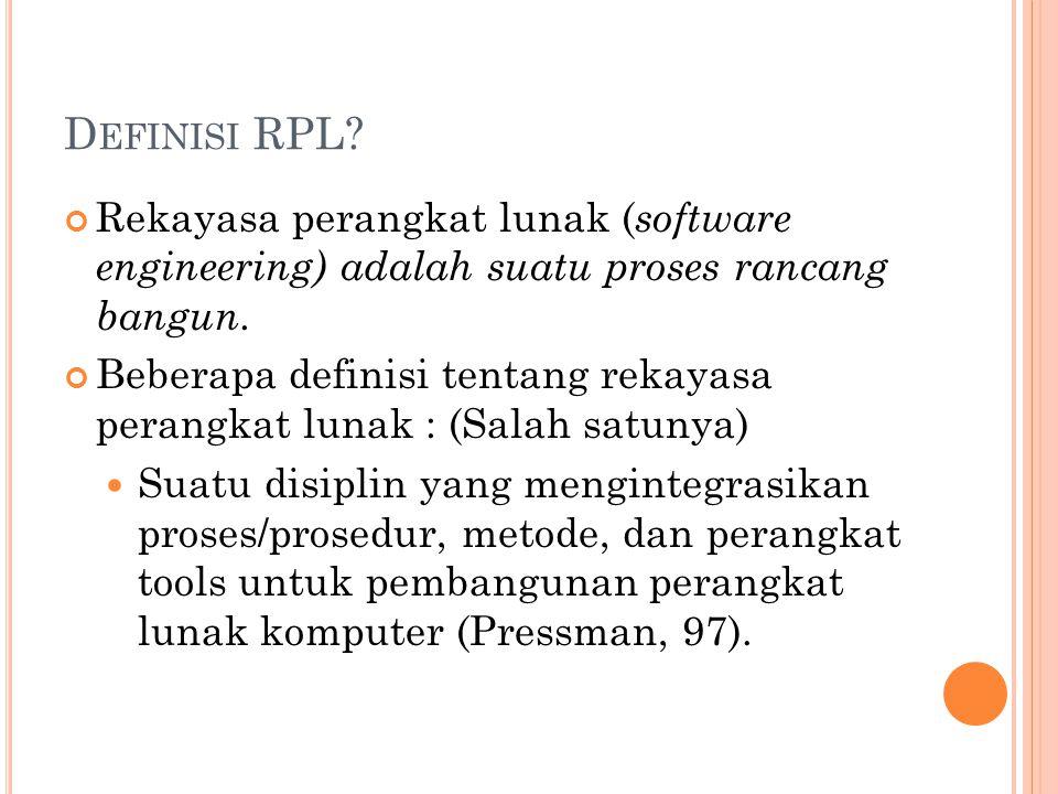 Definisi RPL Rekayasa perangkat lunak (software engineering) adalah suatu proses rancang bangun.