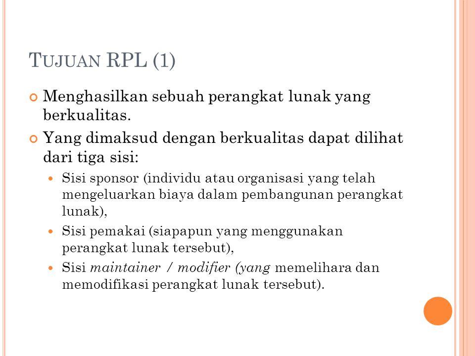 Tujuan RPL (1) Menghasilkan sebuah perangkat lunak yang berkualitas.