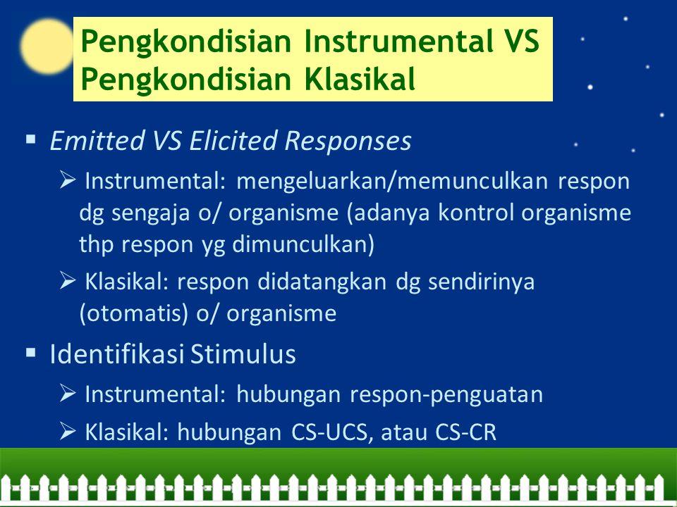 Pengkondisian Instrumental VS Pengkondisian Klasikal