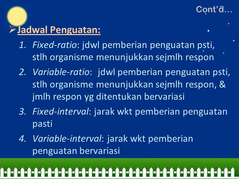 Cont'd… Jadwal Penguatan: Fixed-ratio: jdwl pemberian penguatan psti, stlh organisme menunjukkan sejmlh respon.